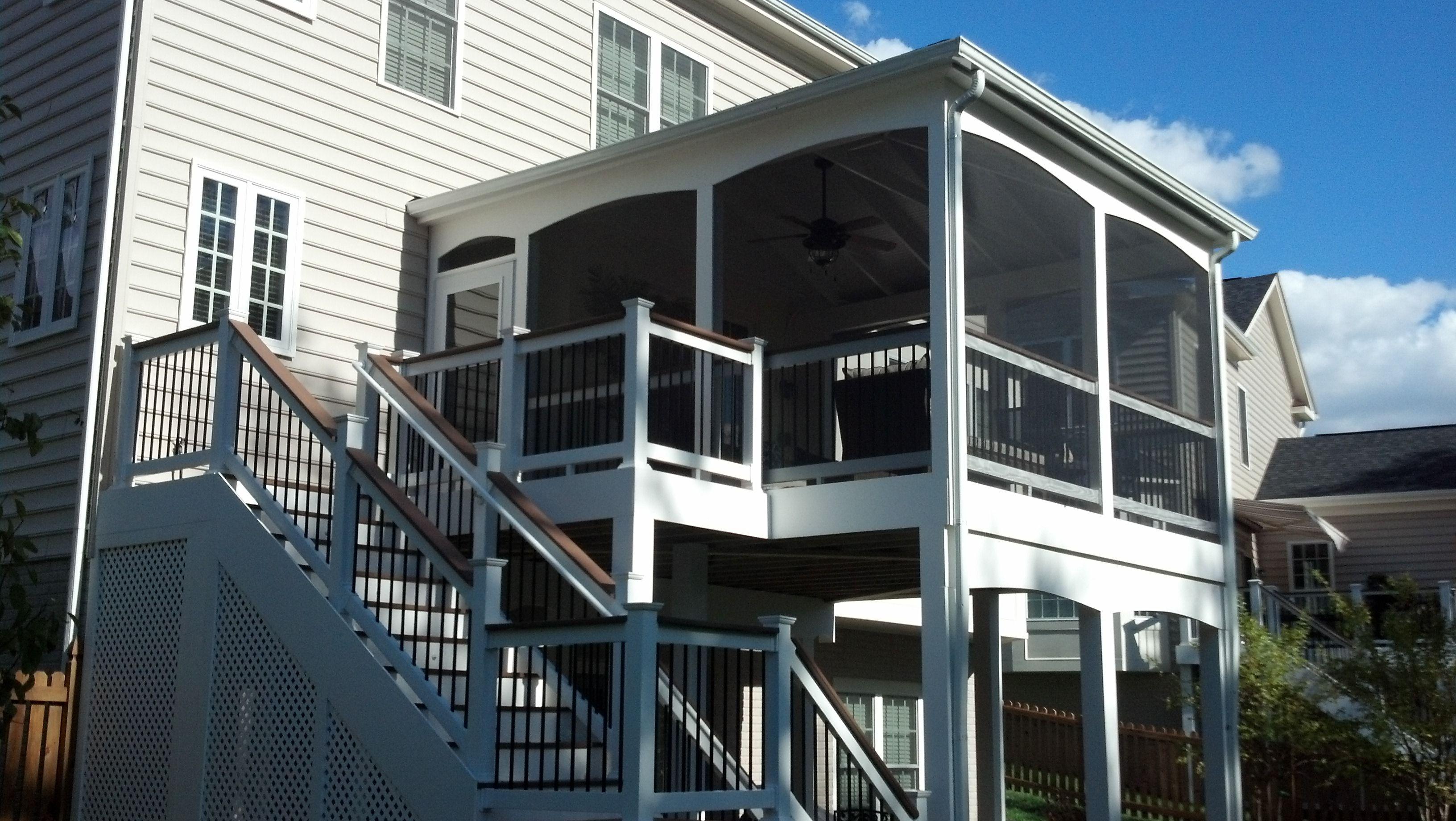 Screened Porch Open Deck Combo White Vinyl Rail System Black Aluminum Balusters Composite Decking White Vi Vinyl Railing Aluminum Balusters Screened Porch
