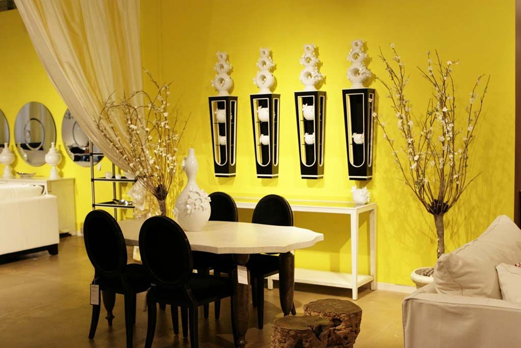 Dining Room. Yellow Dining Room Designing Ideas With Unique Black ...