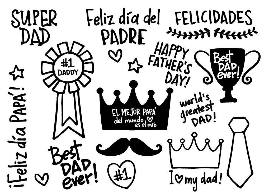 Happy Father S Day Doodles Words Quotes Clipart Png Crown Best Dad Ever Hand Lettering 1 Cup Olive Tie Mustaches Heart Stars Png Dibujos Dia Del Padre Carteles Dia Del Padre Feliz