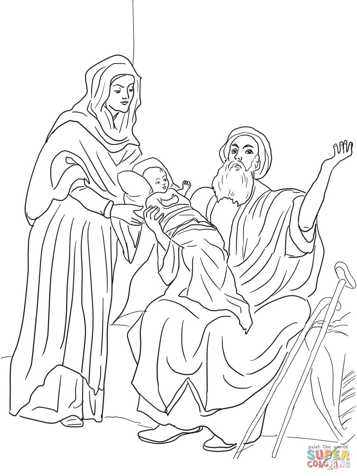 Baby Jesus in Temple Coloring Page, jesus at the temple coloring