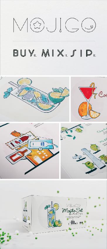 "Mojigo Party box Illustration ""Party in a box"""