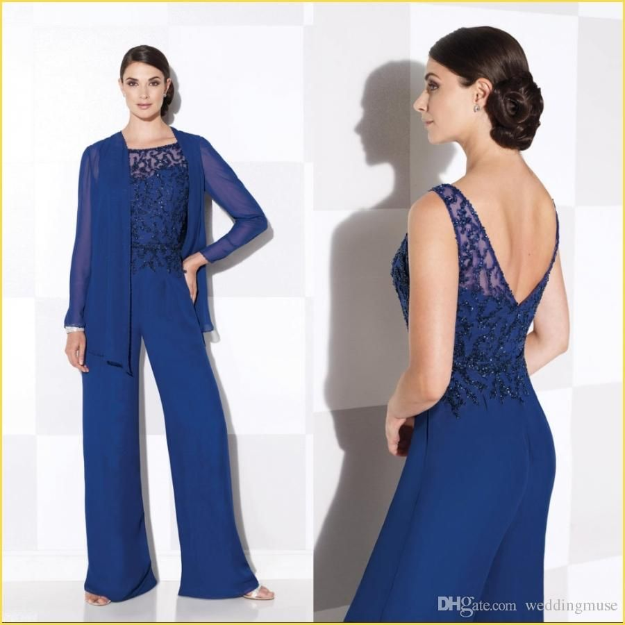 Navy Blue Mother Of The Bride Pant Suits Elegant Lace Free