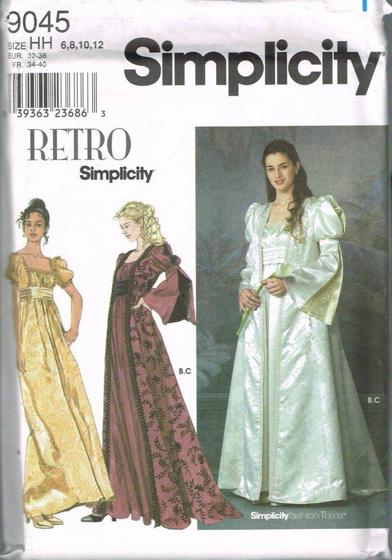 a60e136e710 Size 6-12 Misses  Renaissance Dress Costume Sewing Pattern - Edwardian Dress  Costume - Wedding Dress
