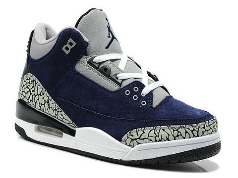 on sale 541c9 2c908 Air Jordan 3 Suede Navy Blue White Black Cement | fashion ...