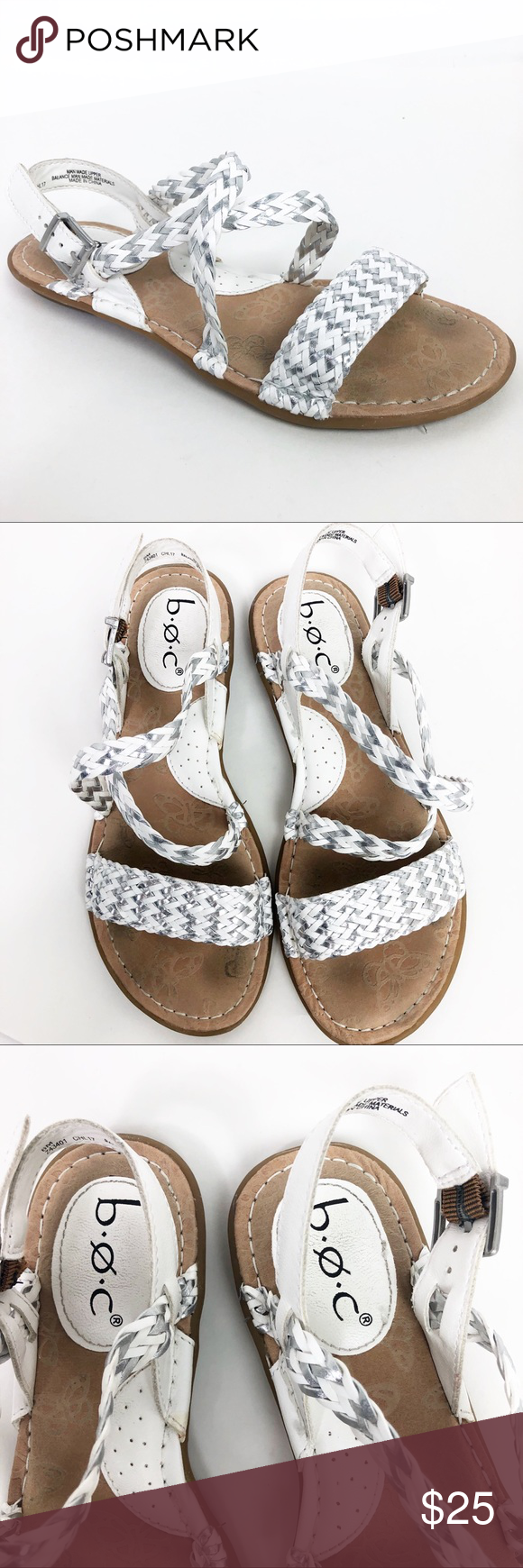 937ff5349957 Born Concepts Sandal Size 6 Dena Braided Slingback BOC Born Concepts  Sandals White with Metallic Silver Size 6 Dena Braided Slingback Condition   Pre-loved