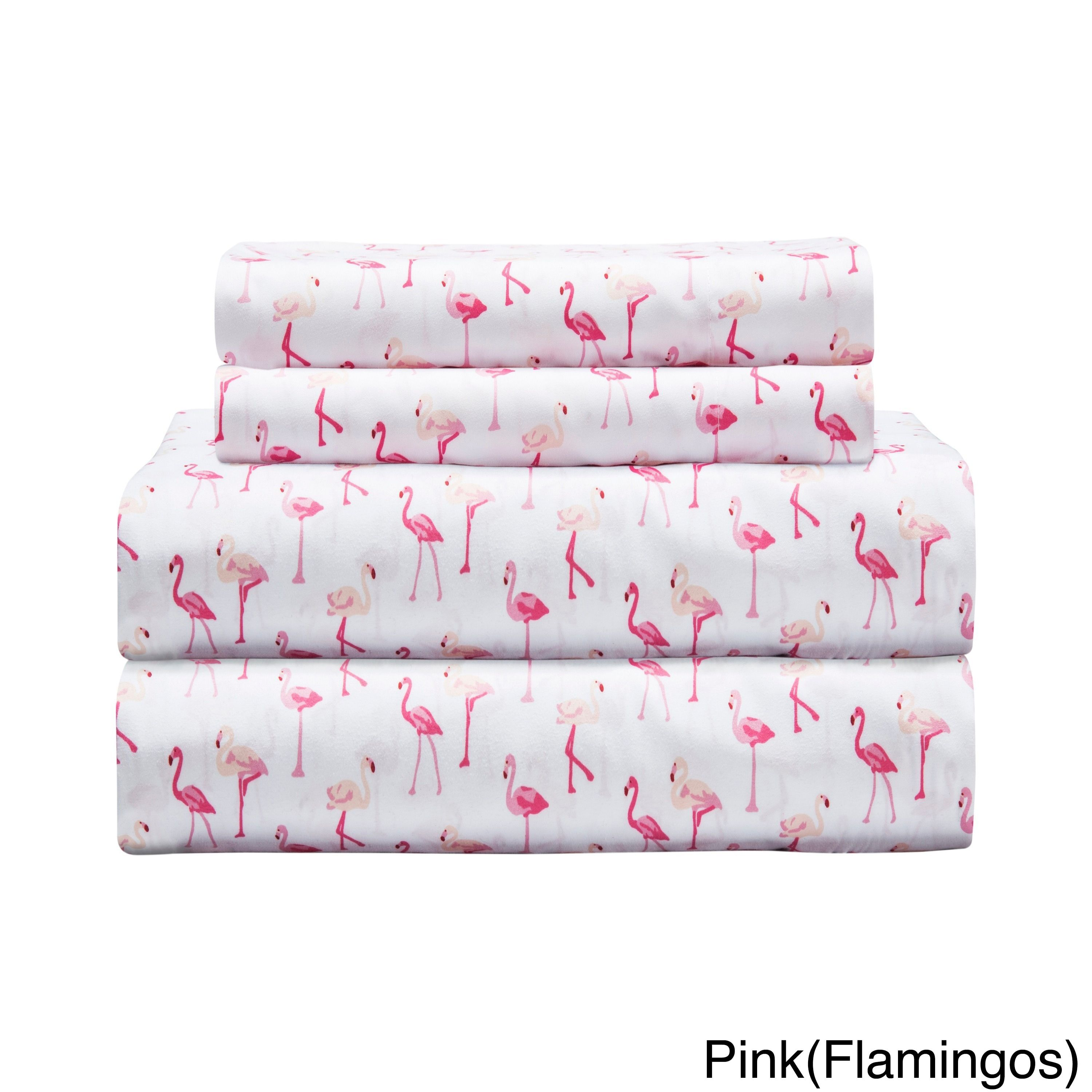 Whimsical Pink Flamingo Summer Sheet Set Queen Size