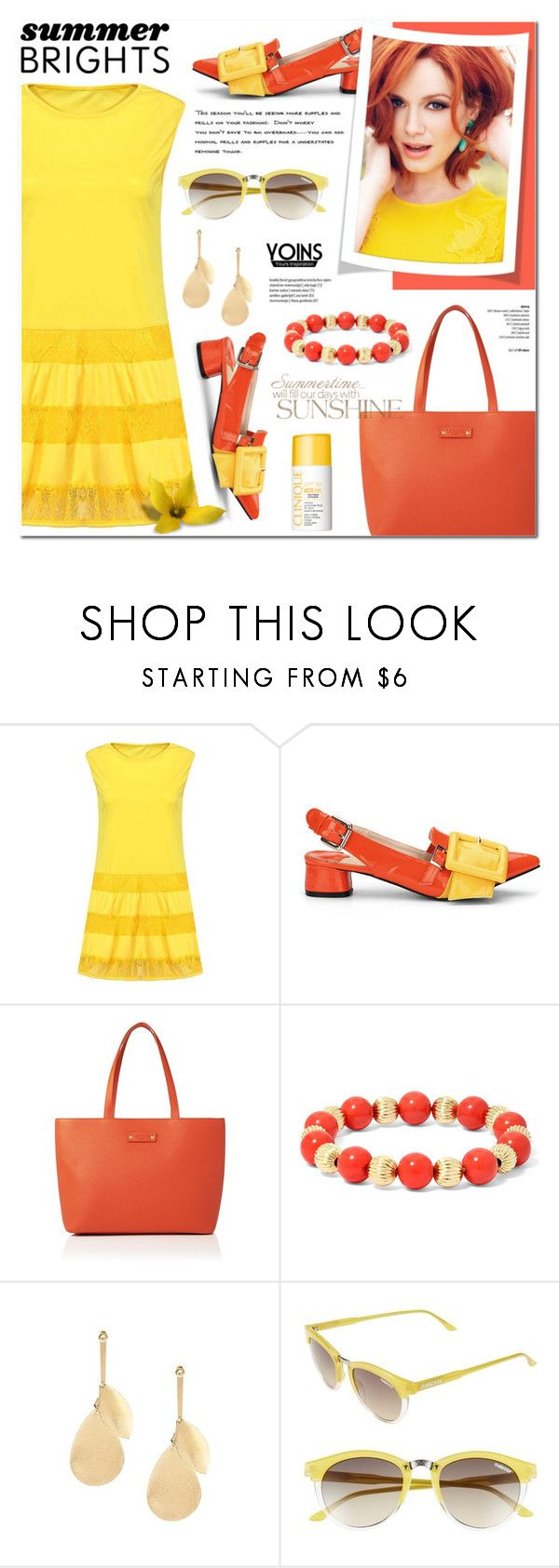 """Yoins 30 - Summer Brights"" by anyasdesigns ❤ liked on Polyvore featuring L.K.Bennett, Monet, Smith Optics and Clinique"