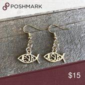 3 for $25 Handmade Gold Jesus Fish Earrings Beautiful handmade gold dangle Jesus…