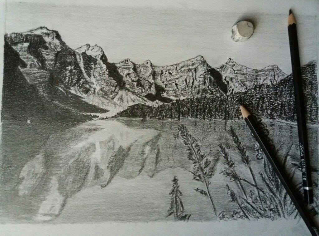 Dessin realiste noir et blanc montagnes paysage lac - Dessin a colorier paysage ...