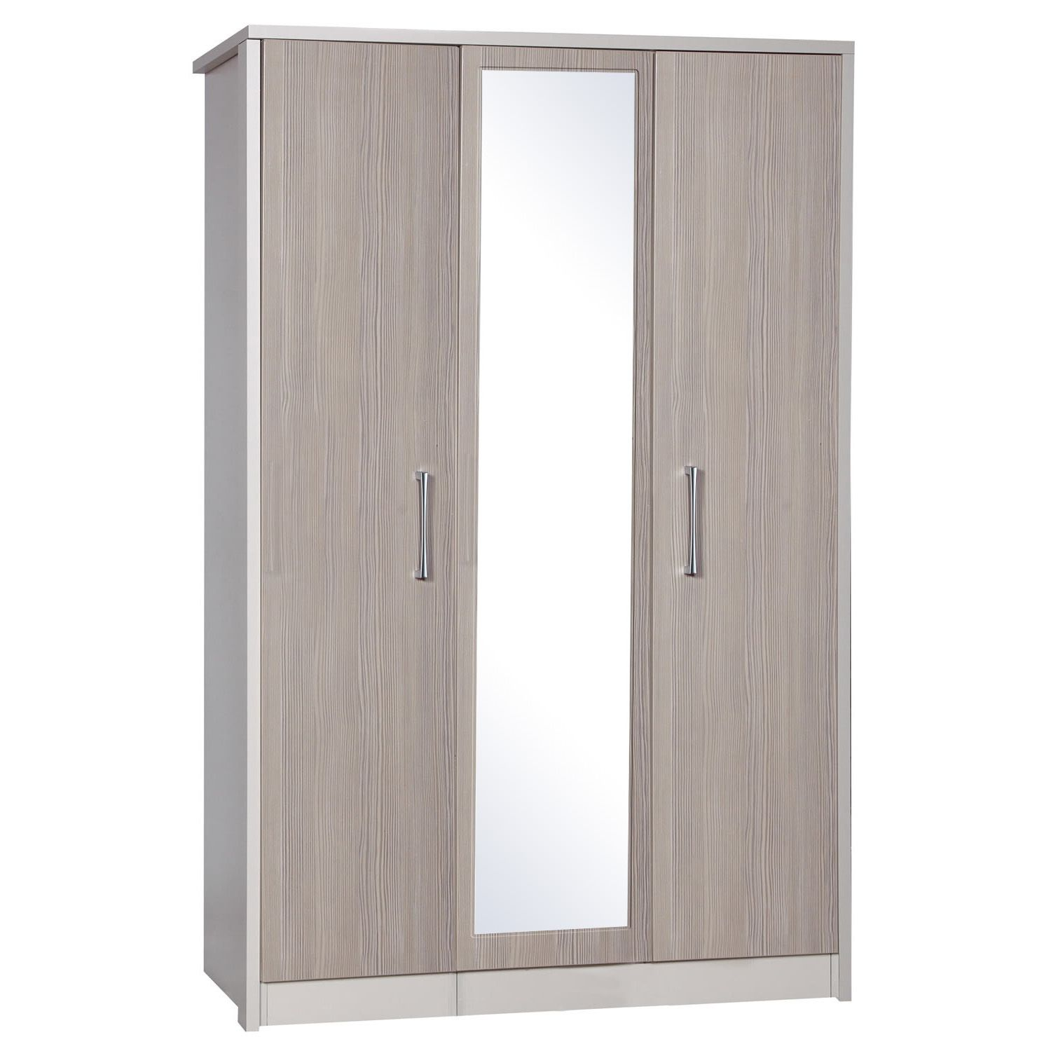 Avola Champagne 3 Door Wardrobe With Mirror Next Day Delivery