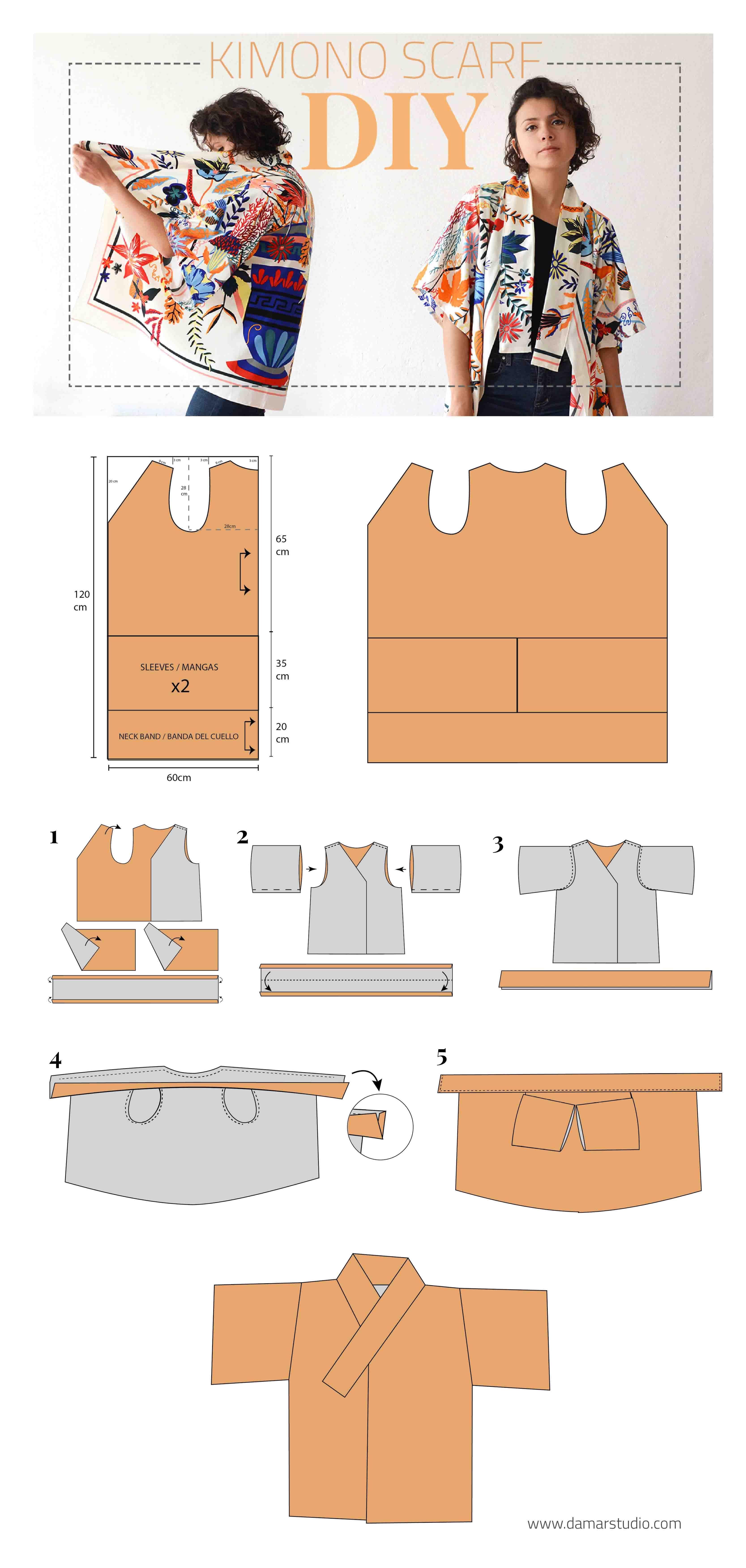 COMO HACER UN KIMONO CON UNA BUFANDA - sewing - upcycling - pattern ...