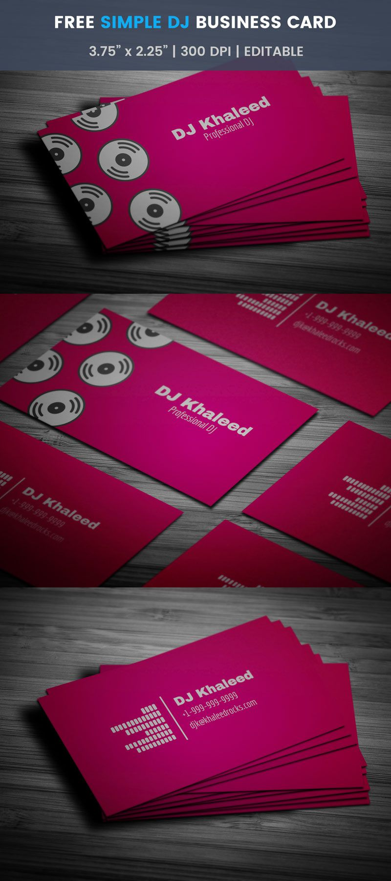 Simple Dj Business Card Full Preview Free Business Card