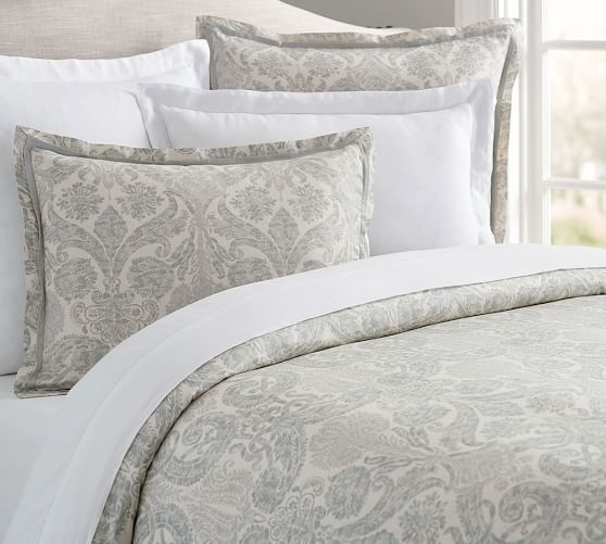 Samantha Damask Sateen Duvet Cover Paisley Bedding Quilted Sham