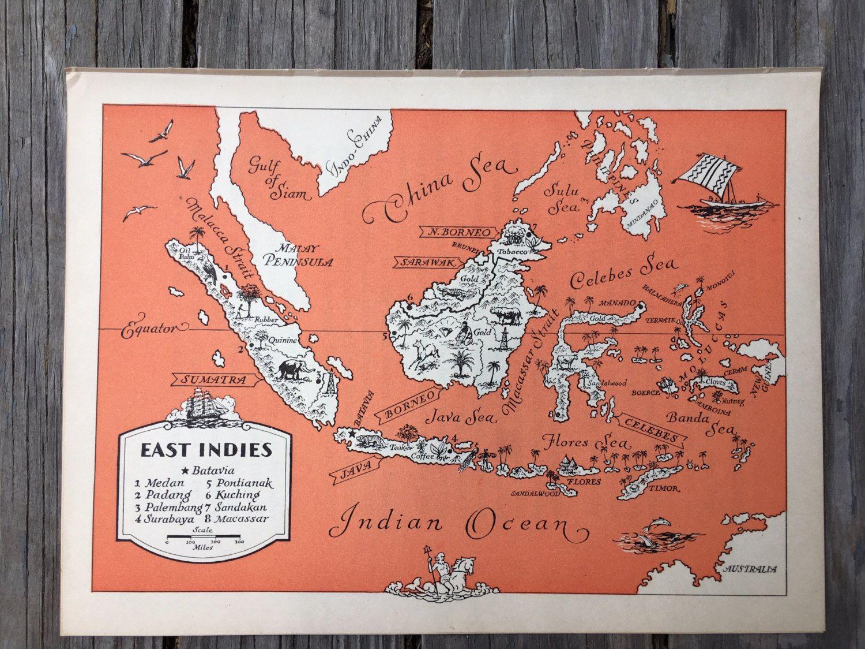 Indonesia Map Print Retro Wall Decor Vintage Map Art Map Wall Art Print Old Map Illustration Travel Wall Map Ja Map Wall Art Map Art Ocean Wall Art