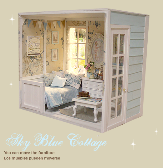 "Miniature Children S Bedroom Room Box Diorama: DIORAMA "" BLUE SKY "" Miniature Dollhouse ( Ooak By Nerea"