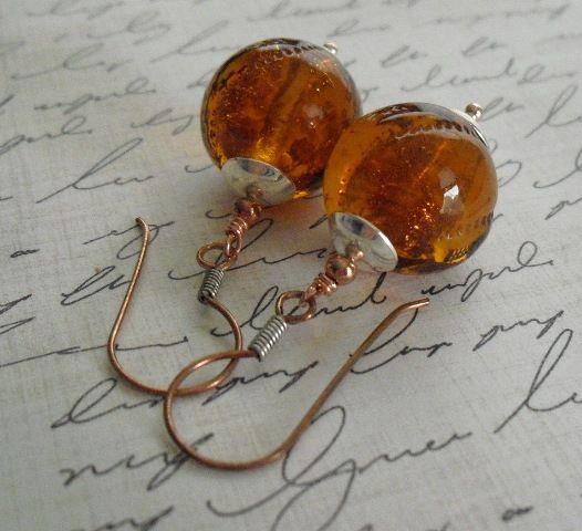 Silver & Copper blown glass earrings