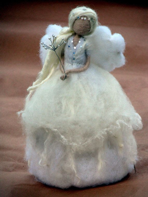 Needle felted Christmas Tree Topper. Waldorf inspired. This angel is about 10tall, made out of few kinds of wool, silk and fibers. Decorated with