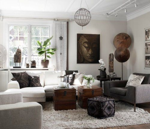 Eclectic yet tasteful and neutral living area