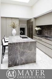 Dark marble waterfall kitchen island  Create a statement in your kitchen with a ..., #create #DARK #island #Kitchen #marble #statement #waterfall