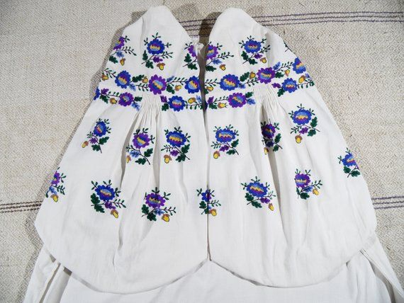 71d83276659 Purple blue embroidery. Damask stitch. Authentic Embroidered dress  Completly handmade Sorochka Vyshy