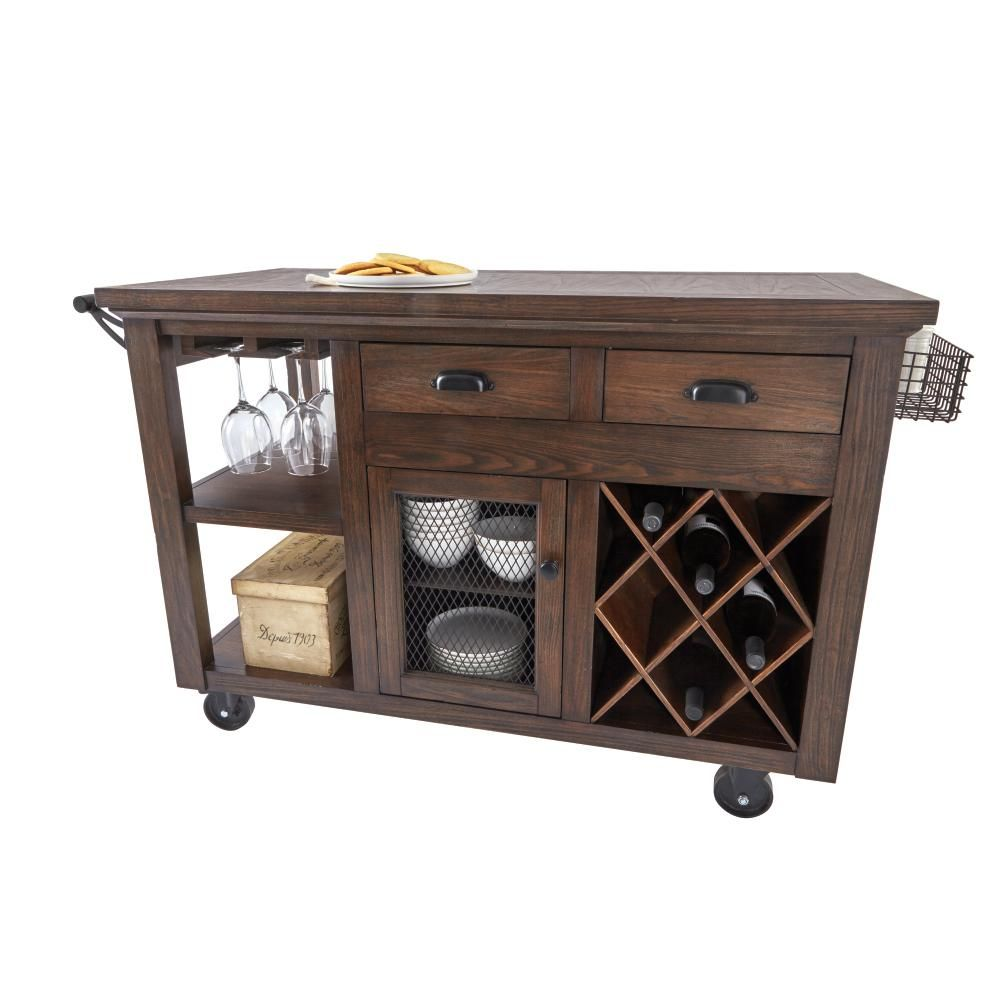 Home Decorators Collection Cooper 51 In W Rolling Kitchen Cart Rustic Walnut 9848800960 The Depot