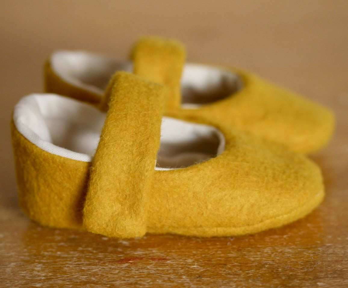 Simple Little Yellow Wool Mary Jane Baby Booties. $30.00, via Etsy.