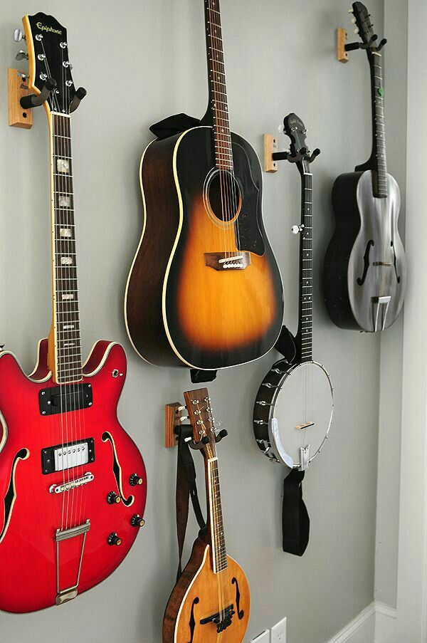 Guitars Hung In Family Room