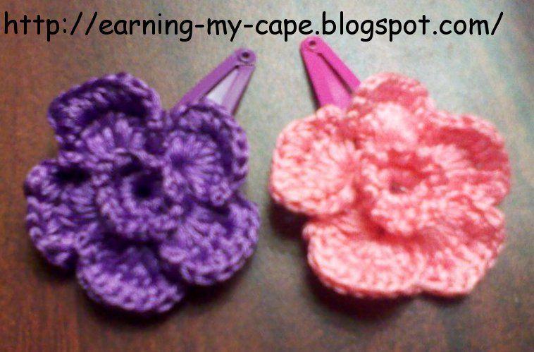 Earning My Cape Crochet Flower Hair Clips Free Pattern Projects
