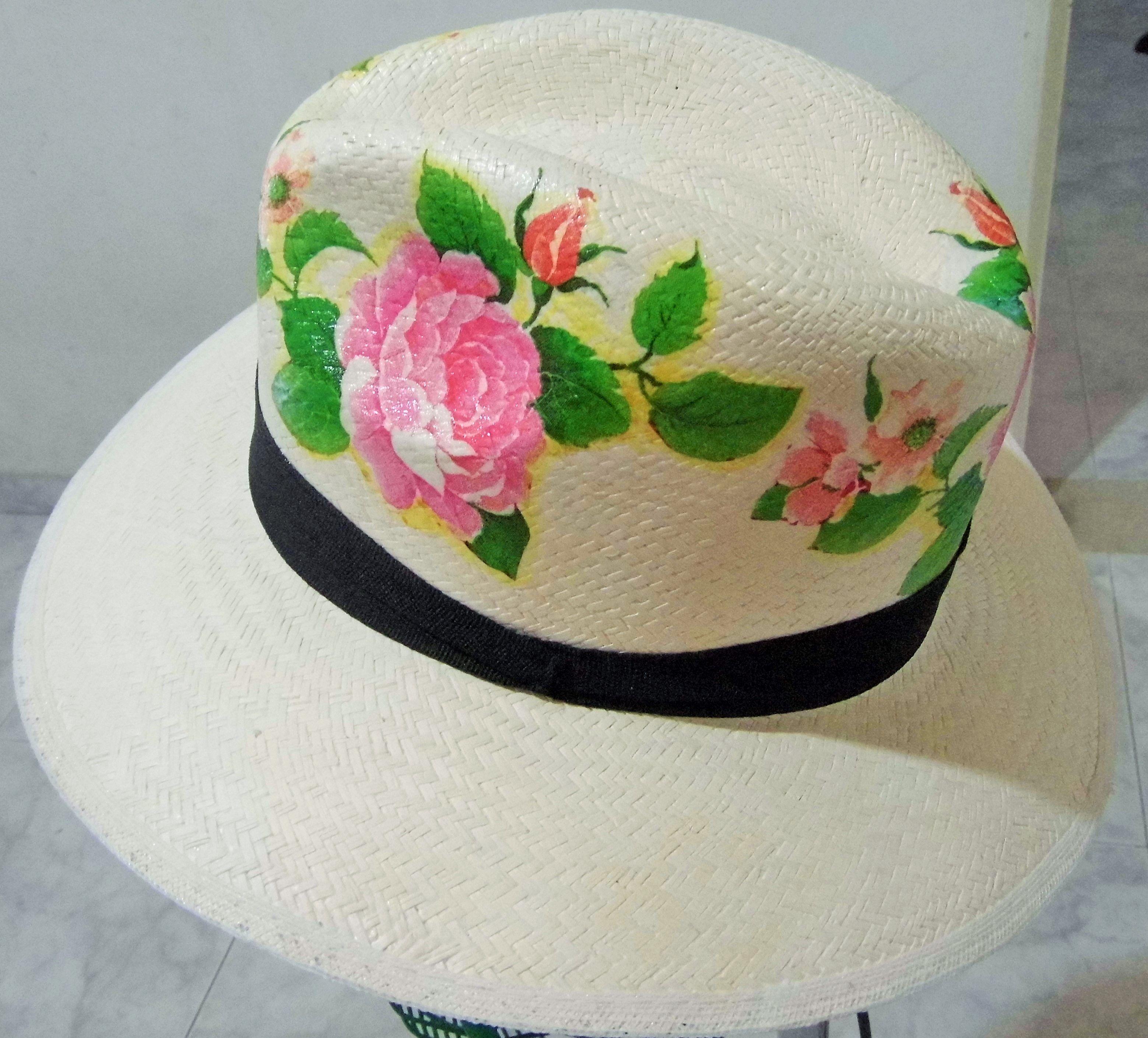 Decoupage sobre sombrero Sombreros decorados  d50bd69b7bb