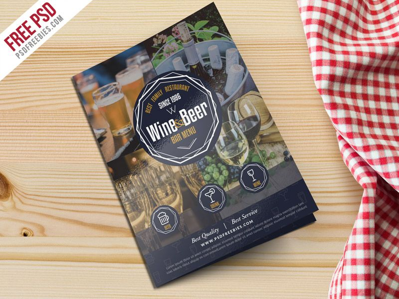 Beer And Wine Menu BiFold Brochure Template Psd  Design Freebies