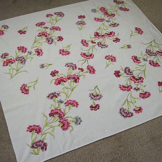 Vintage Print Carnations Cotton Tablecloth White by MissIvyVintage, $12.99