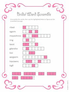 Printable Bridal Shower Word Scramble Marriage