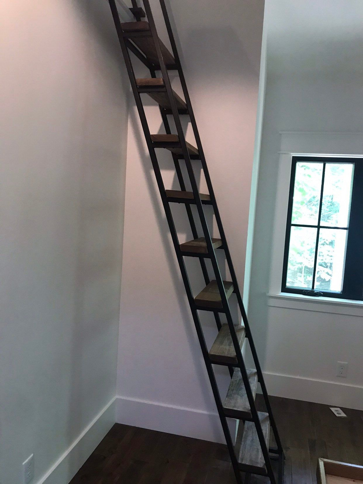 10ft Loft Ladder Librarian Free Shipping To Your Door Etsy Loft Ladder Tiny Loft Loft