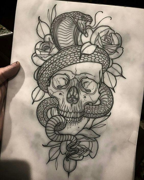 Photo of Modelos e desenhos de tatuagem de caveira – desenhos de tattoo de caveira #tatto…