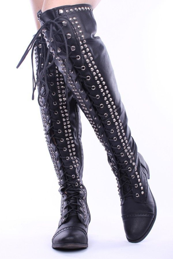 BLACK FAUX LEATHER STUDDED OVER THE KNEE RIDING BOOTS,Women's ...