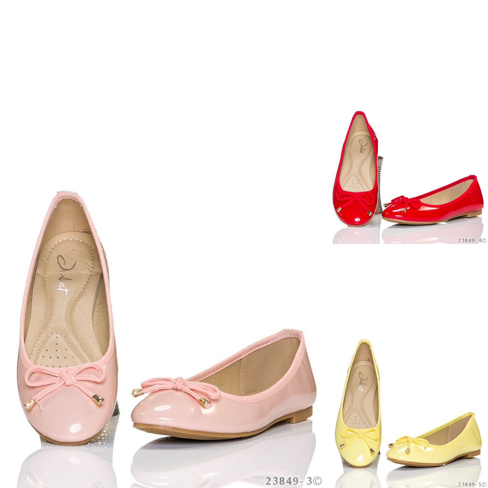 2183acc6b WOMENS LADIES PATENT LEATHER SLIP ON BOW PUMPS BALLERINA SHOES BALLET FLATS