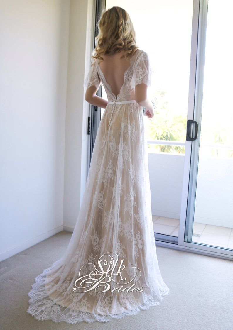 Champagne White Vintage Style Soft Lace Beach Wedding Dress With Open Back And Sleeves Boho Bridal Gown Boho Lace Wedding Dress Vintage Inspired Boho Wedding Dress Lace Lace Wedding Dress [ 1125 x 794 Pixel ]