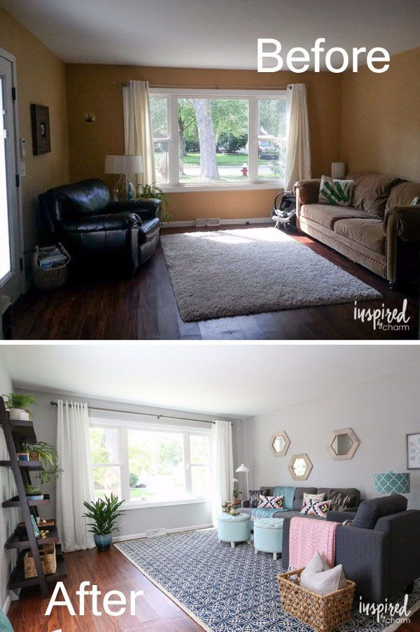 17 Awesome Before And After Living Room Makeovers In 2020