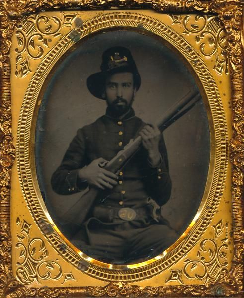 Soldier With Musket 1 6 Plate Tintype Of A Handsome Bearded Soldier Properly Holding His Musket Wall Hanging Thermoplastic Case With Small Chip Civil War Photos