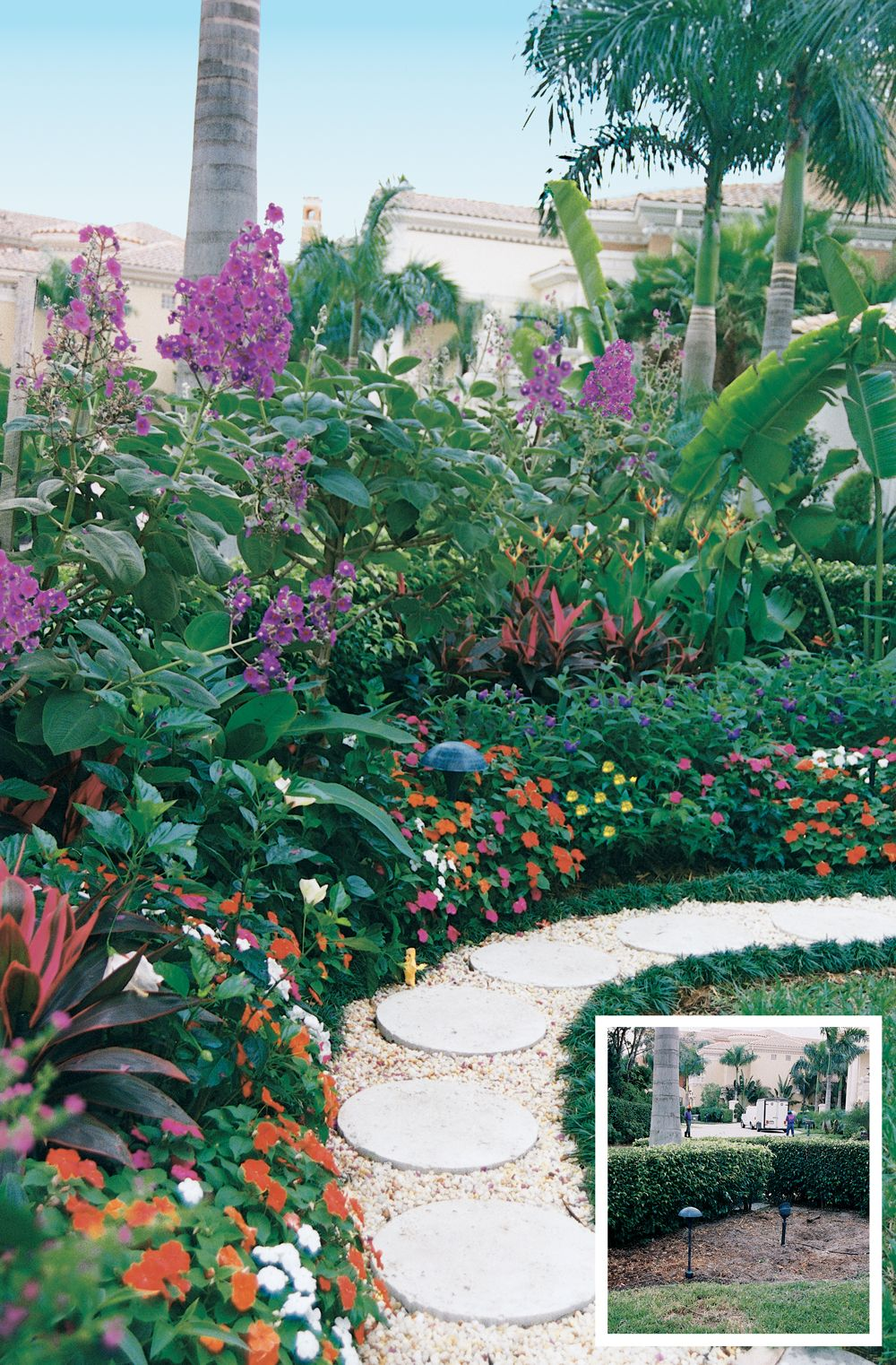 Flowering shrubs mixed with tropicals form the tallest layer of this ...