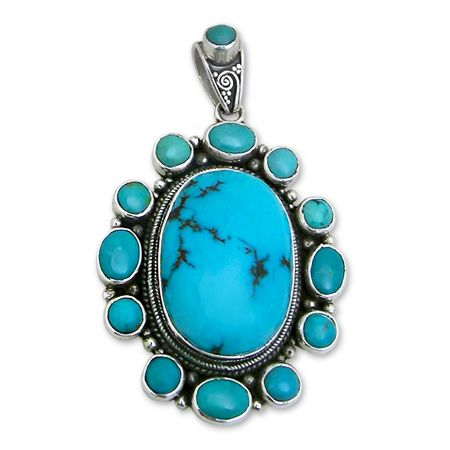 Gorgeous Pendant with Turquoise rosette, ethnic Jewel from Nepal