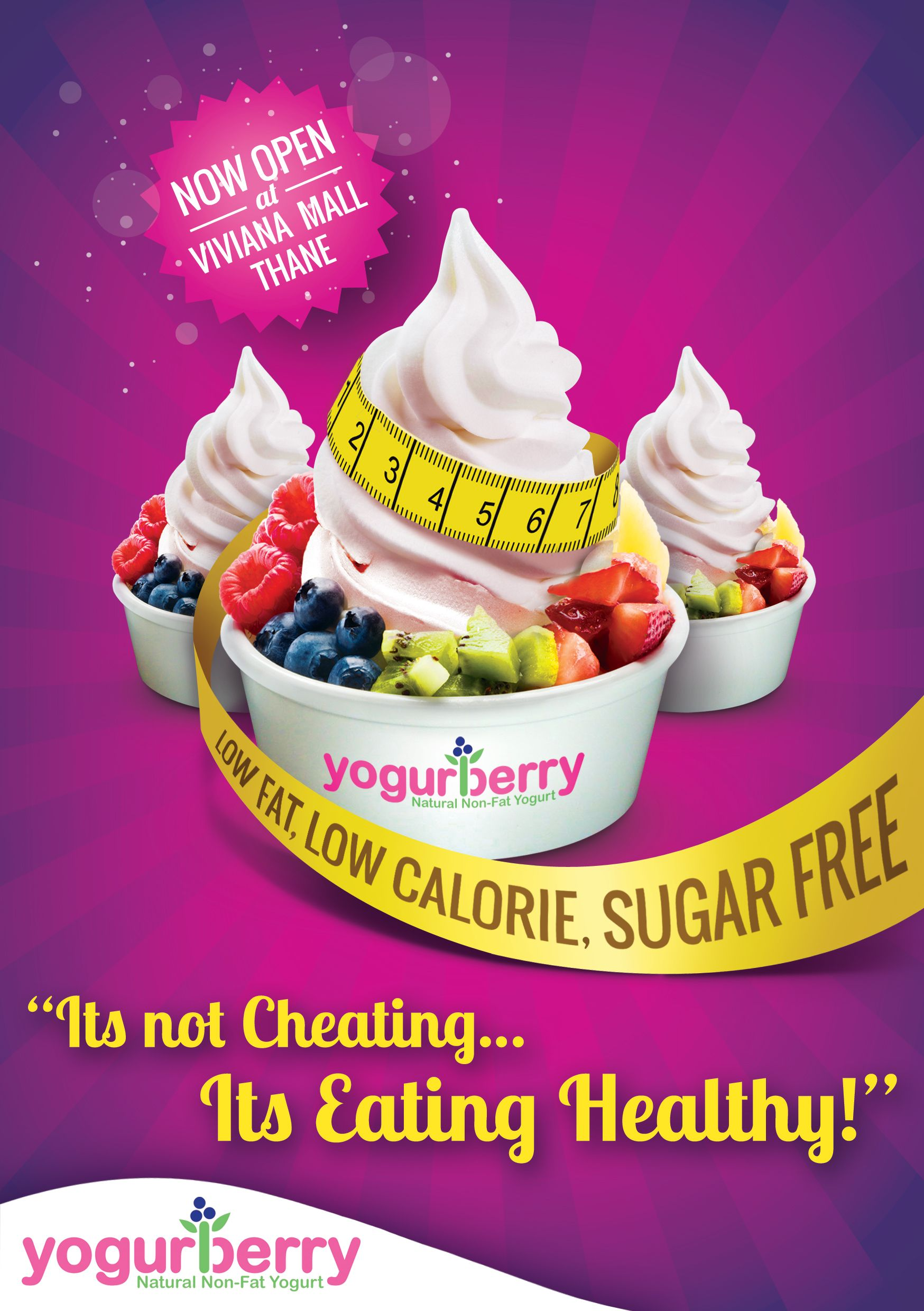 Flyer Design For A Newly Opened Frozen Yogurt Outlet