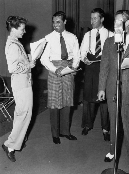 Katherine Hepburn, Cary Grant, and Jimmy Stewart (men in skirts while  Katharine is in pants).