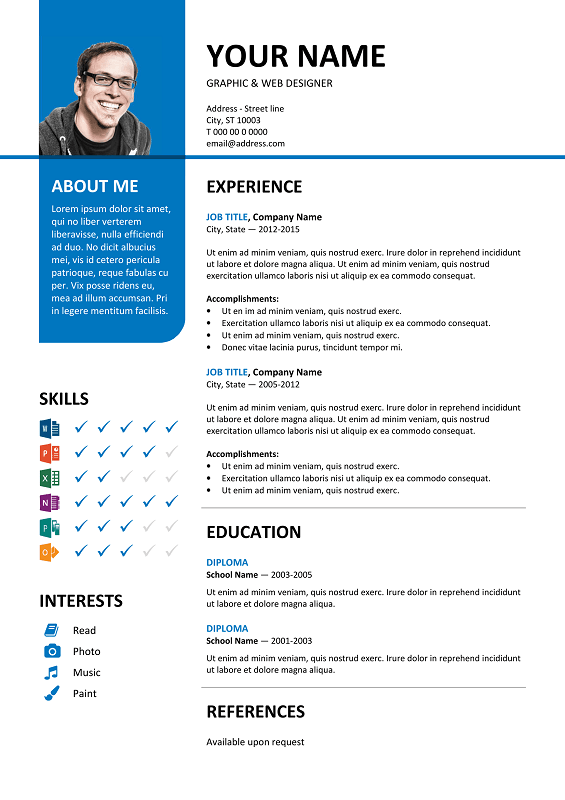 Bayview free resume template microsoft word blue layout classic bayview is another clean free ms word resume template with a top left vertical colored banner yelopaper Images