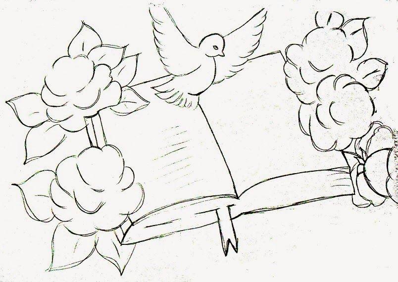 Desenho De Biblia Com Rosas E Pomba Da Paz Para Pintar Riscos