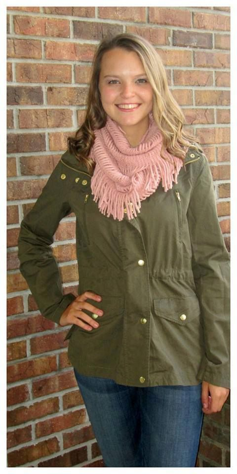 "IT'S BACK!!! Our Fall jackets sell so quickly so get it before it goes!! ""Olive This Jacket"" $56 sizes s-l  Ordering is easy --> 315.565.5586 OR https://secure.jotformpro.com/form/51514909970966 Have questions?? Feel free to ask!!"