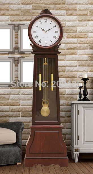 America Pastoral Fashion Wooden Grandfather Clock Antique Wooden Floor Clock With Hourly Music Chime In Floor Clocks Wooden Flooring Unique Flooring Flooring