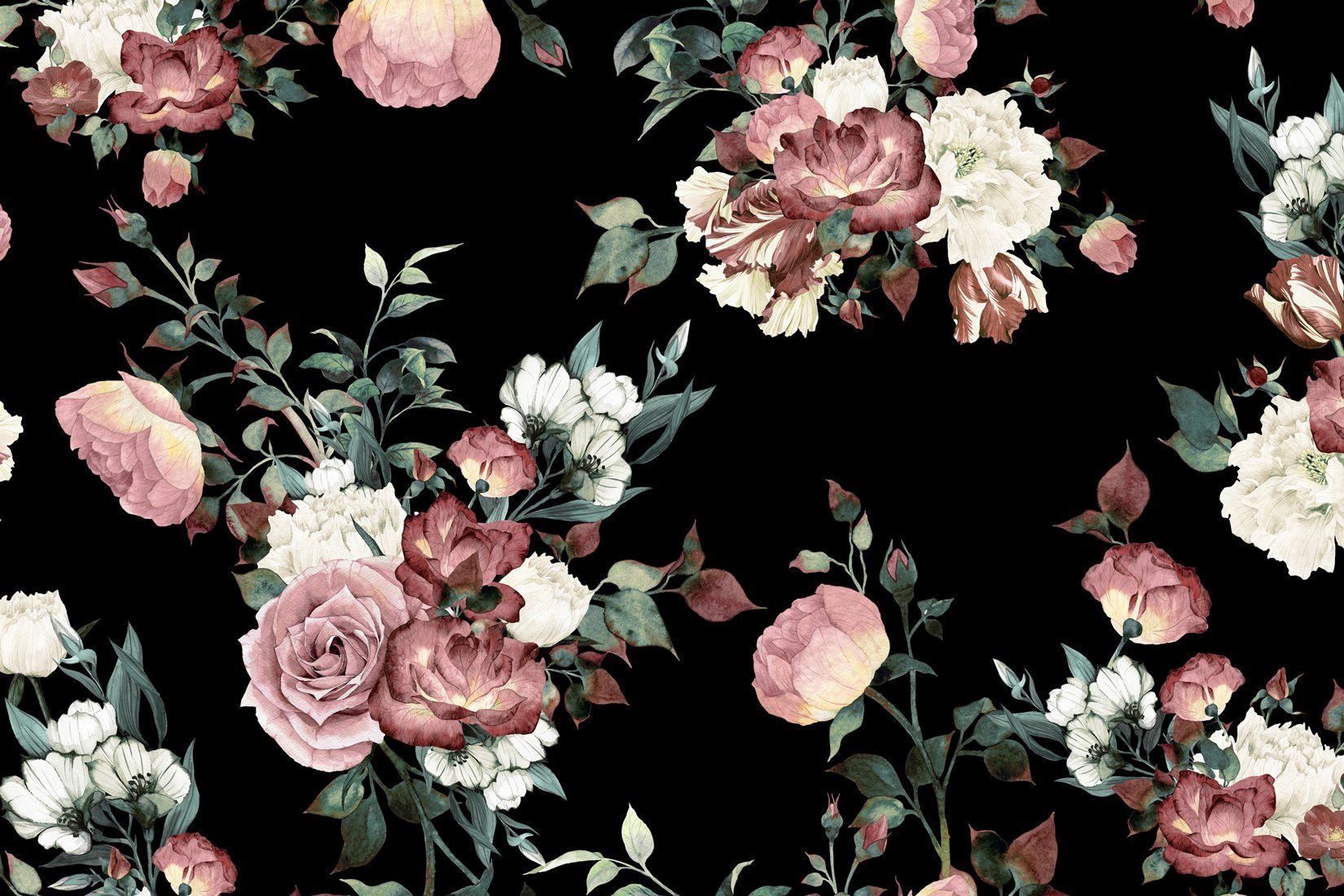 Vintage Pink And Cream Dark Floral Wall Mural Black Floral