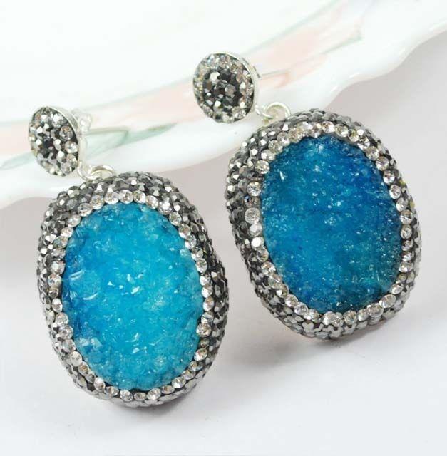 High Quality Turkish Blue Druzy Topaz 925K Sterling Silver Earring CJ-L6867
