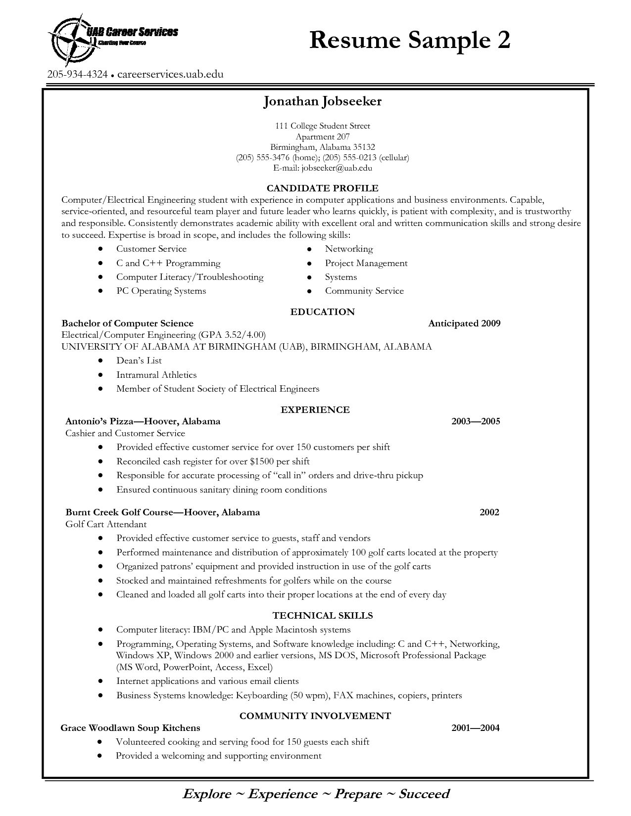 Free Resume Templates For University Students College